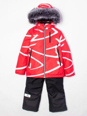 Комплект зимний UKI kids Зиг-заг красный-черный 4