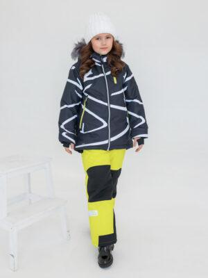 Комплект зимний UKI kids Зиг-заг черный-желтый