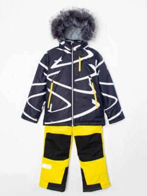 Комплект зимний UKI kids Зиг-заг черный-желтый 4