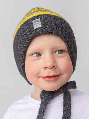 Шапка на завязках зимняя UKI kids Иней серый-желтый 1