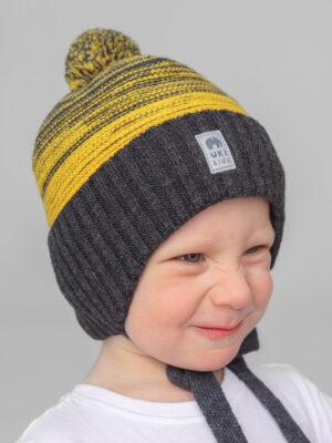 Шапка на завязках зимняя UKI kids Иней серый-желтый