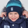 Шапка на завязках зимняя UKI kids Иней синий-бирюза