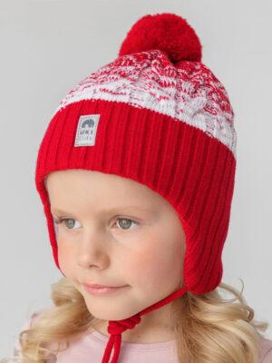 Шапка на завязках зимняя UKI kids Святки красны-белый