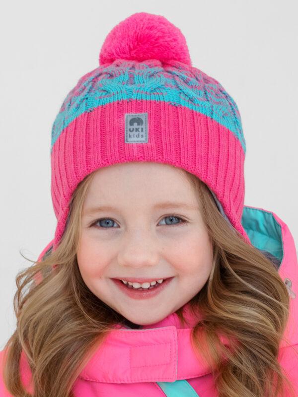 Шапка на завязках зимняя UKI kids Святки яр.розовый-бирюза