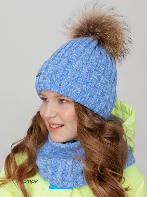 Шапка с натуральным помпоном UKI kids Соната голубой