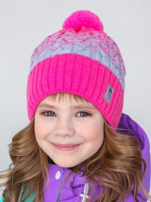 Шапка с помпоном UKI kids Забава розовый-серый