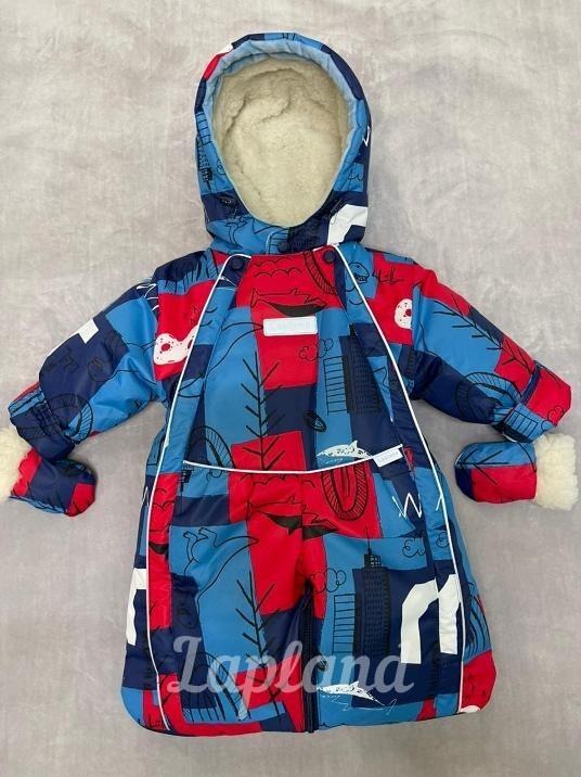 Комбинезон-трансформер зима-весна-осень Lapland Дино синий-красный 3