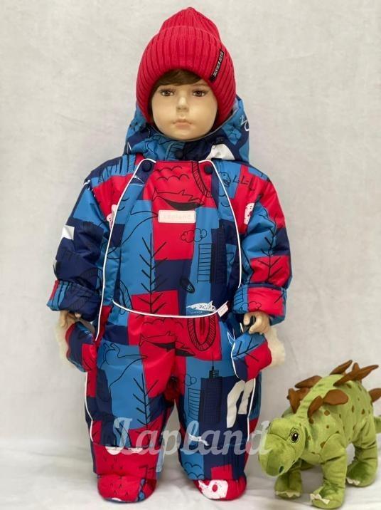 Комбинезон-трансформер зима-весна-осень Lapland Дино синий-красный